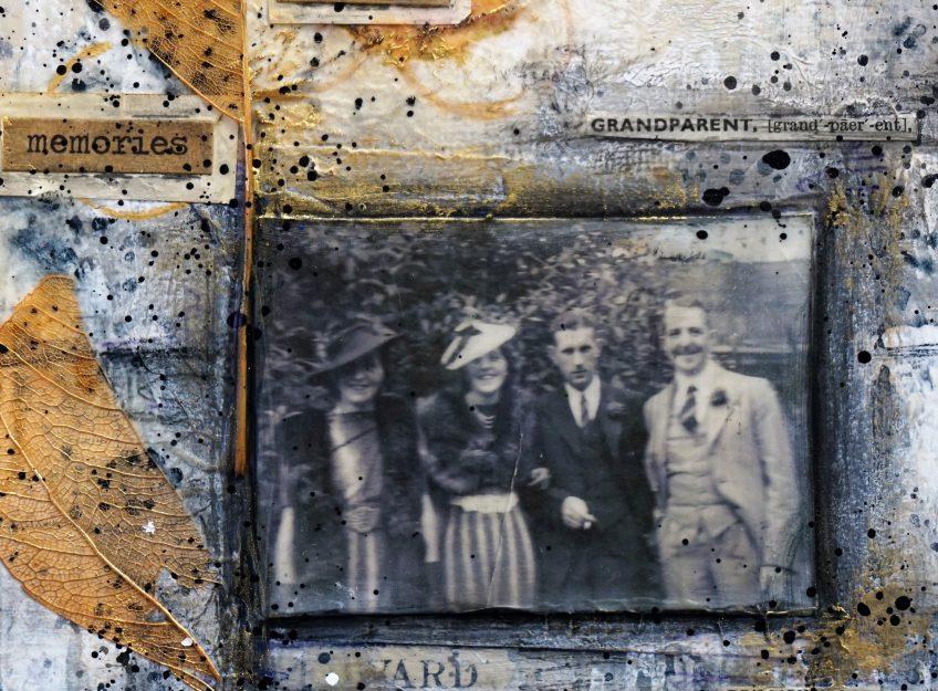 A close up of 'Edward' and Gran's wedding photo.